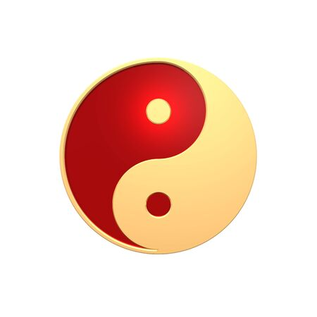 antithesis: Gold Tai Chi - Yin Yang sign. Computer generated 3D photo rendering.