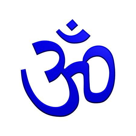 3d om: Blue Hinduism symbol. Computer generated 3D photo rendering.