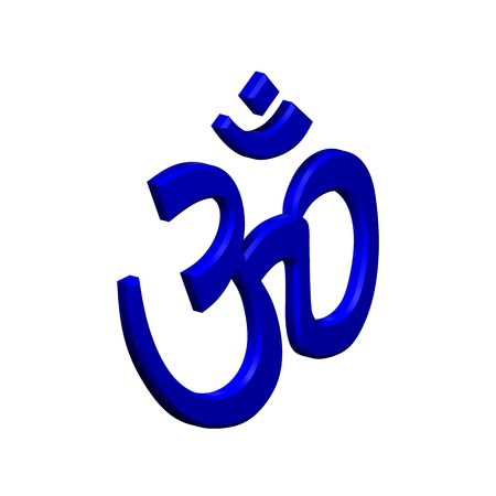 in hinduism: Blue Hinduism symbol. Computer generated 3D photo rendering.