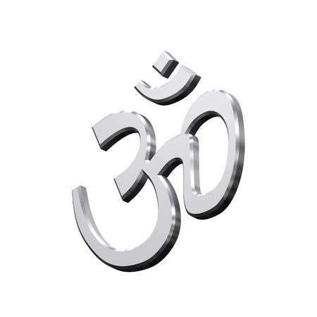 Chrome Hinduism symbol. Computer generated 3D photo rendering. photo