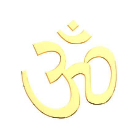 Gold Hinduism symbol. Computer generated 3D photo rendering. Stock Photo - 4648488