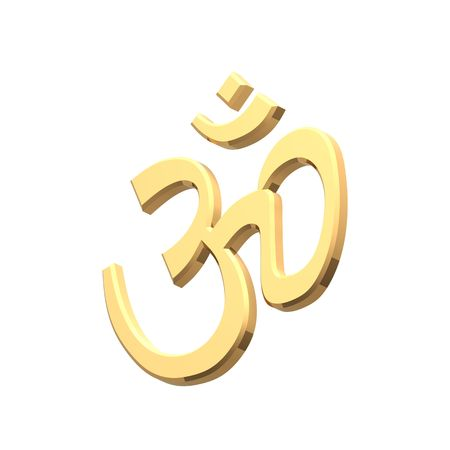 Gold Hinduism symbol. Computer generated 3D photo rendering. Stock Photo - 4648491