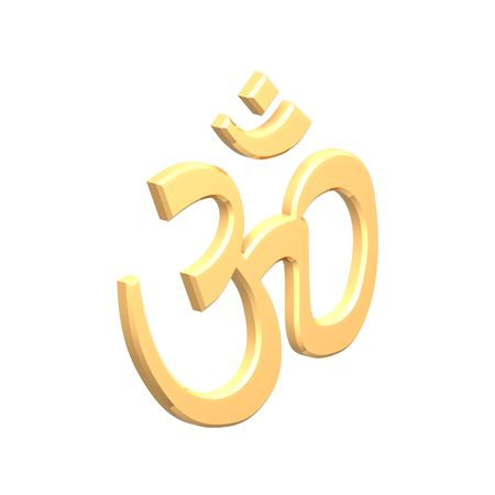 Gold Hinduism symbol. Computer generated 3D photo rendering. photo