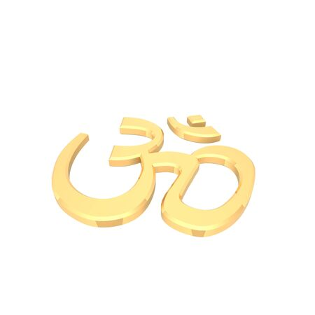 Gold Hinduism symbol. Computer generated 3D photo rendering. Stock Photo - 4648480