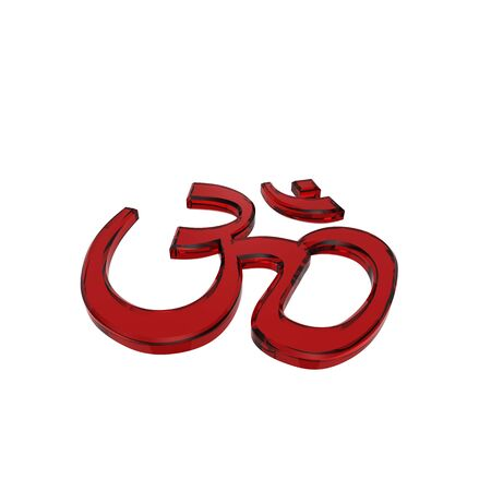 3d aum: Red glass Hinduism symbol. Computer generated 3D photo rendering.