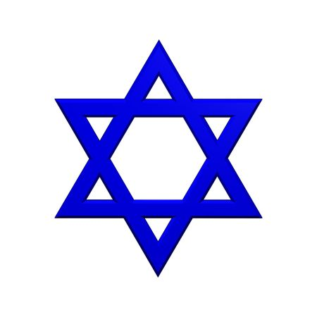 Blue Judaism religious symbol - star of david isolated on white.  Computer generated 3D photo rendering.