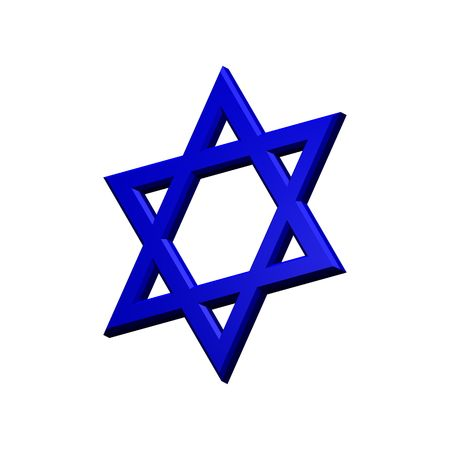 Blue Judaism religious symbol - star of david isolated on white.  Computer generated 3D photo rendering. photo