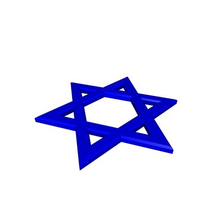 judaic: Blue Judaism religious symbol - star of david isolated on white.  Computer generated 3D photo rendering.