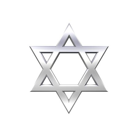 Chrome Judaism religious symbol - star of david isolated on white.  Computer generated 3D photo rendering. Stock Photo