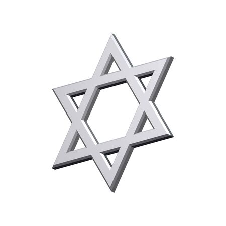 judaic: Chrome Judaism religious symbol - star of david isolated on white.  Computer generated 3D photo rendering. Stock Photo