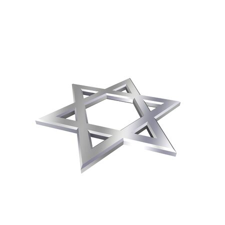 Chrome Judaism religious symbol - star of david isolated on white.  Computer generated 3D photo rendering. photo