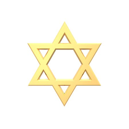 Gold Judaism religious symbol - star of david isolated on white.  Computer generated 3D photo rendering. photo