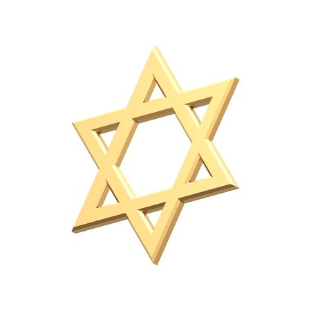 judaic: Gold Judaism religious symbol - star of david isolated on white.  Computer generated 3D photo rendering.