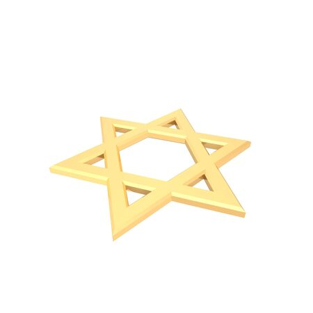 Gold Judaism religious symbol - star of david isolated on white.  Computer generated 3D photo rendering. Stock Photo - 4648479