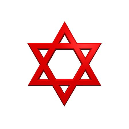Red Judaism religious symbol - star of david isolated on white.  Computer generated 3D photo rendering. Stock Photo - 4648501