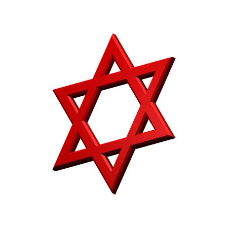 judaic: Red Judaism religious symbol - star of david isolated on white.  Computer generated 3D photo rendering. Stock Photo