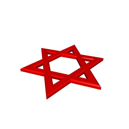 Red Judaism religious symbol - star of david isolated on white.  Computer generated 3D photo rendering. Stock Photo - 4648486