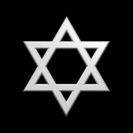 jews: White Judaism religious symbol - star of david isolated on black.  Computer generated 3D photo rendering.