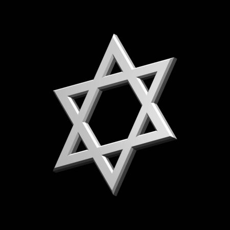 judaic: White Judaism religious symbol - star of david isolated on black.  Computer generated 3D photo rendering.