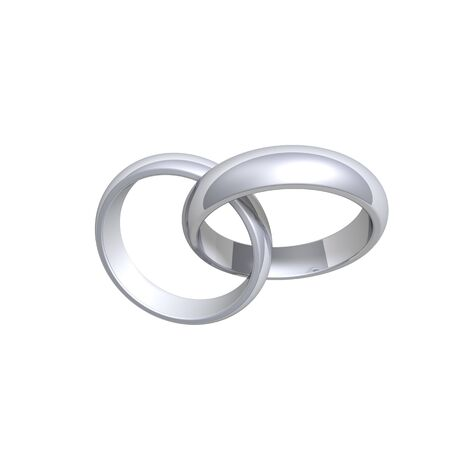 oath: Two silver wedding rings. Computer generated 3d photo rendering.