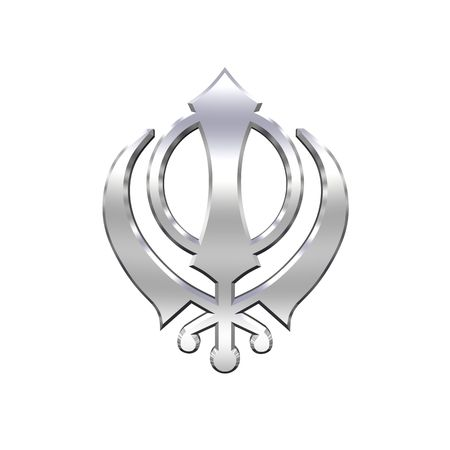 sikhism: Chrome sikhism symbol. Computer generated 3D photo rendering.