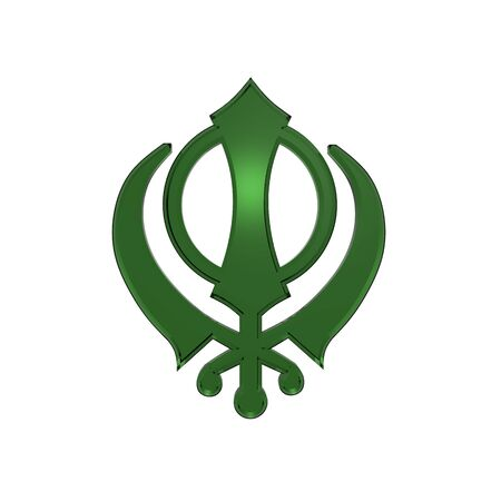 sikhism: Emerald sikhism symbol. Computer generated 3D photo rendering. Stock Photo