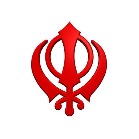 sikhism: Red sikhism symbol. Computer generated 3D photo rendering. Stock Photo