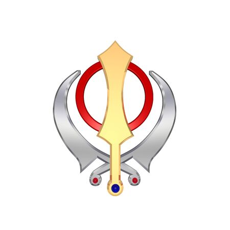 saphire: Sikhism symbol. Computer generated 3D photo rendering.
