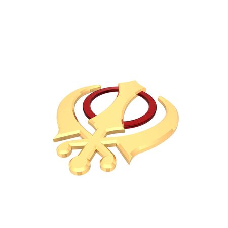 sikhism: Gold sikhism symbol. Computer generated 3D photo rendering. Stock Photo