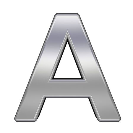 One letter from chrome alphabet set, isolated on white. Computer generated 3D photo rendering.