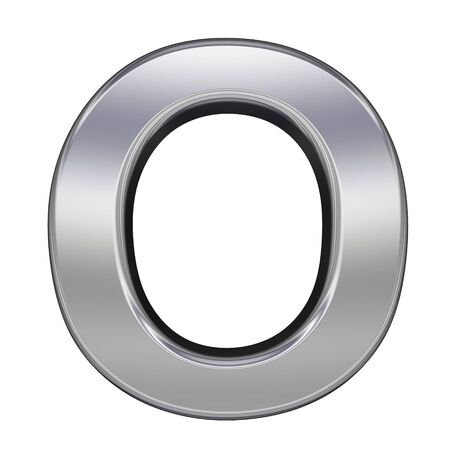 nickel: One letter from chrome alphabet set, isolated on white. Computer generated 3D photo rendering.