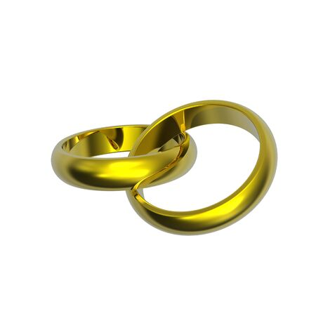 oath: Two gold wedding rings isolated on white. Computer generated 3d photo rendering.