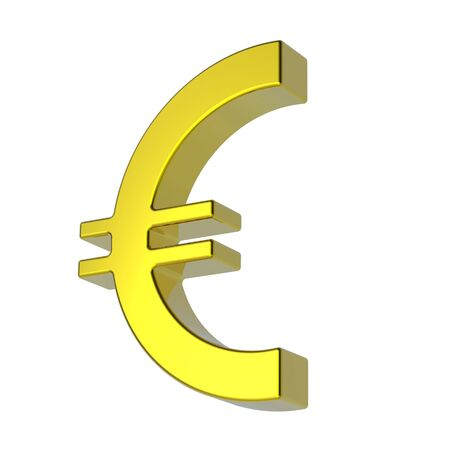 Gold Euro sign isolated on white. Computer generated 3D photo rendering. Stock Photo - 4709233