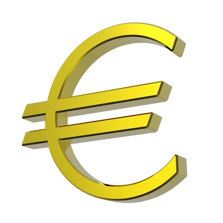 Gold Euro sign isolated on white. Computer generated 3D photo rendering. Stock Photo - 4709243
