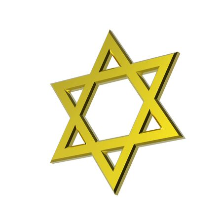 Gold Judaism religious symbol - star of david isolated on white. Computer generated 3D photo rendering.