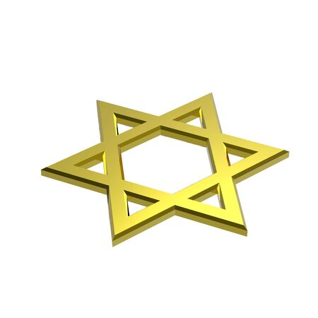 Gold Judaism religious symbol - star of david isolated on white. Computer generated 3D photo rendering. Stock Photo - 4709236