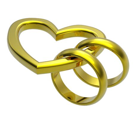 Two gold wedding rings with gold heart. Computer generated 3d photo rendering. photo