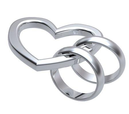 Dos anillos de bodas de plata con corazón de oro. Generado por ordenador 3D rendering foto.