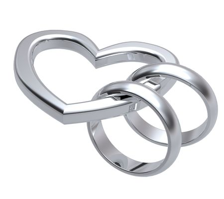 two objects: Two silver wedding rings with gold heart. Computer generated 3d photo rendering.