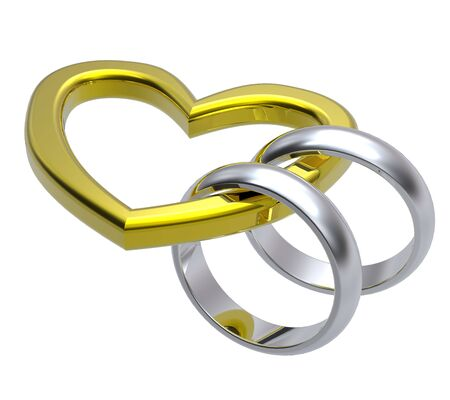 Two silver wedding rings with gold heart. Computer generated 3d photo rendering.