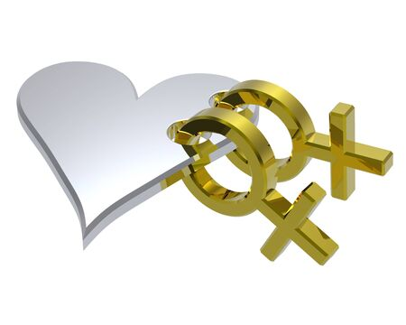Two gold female symbol with red heart. Computer generated 3D photo rendering. Stock Photo - 4785418