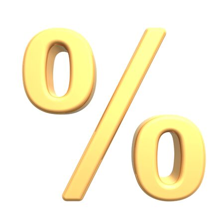 interest: Percent sign from gold alphabet set, isolated on white. Computer generated 3D photo rendering.
