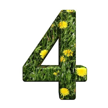 One digit from floral alphabet set, isolated on white. Computer generated 3D photo rendering. photo