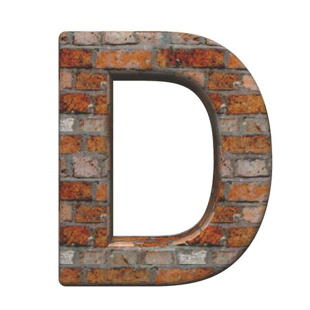 script font: One letter from old brick alphabet set, isolated on white. Computer generated 3D photo rendering.