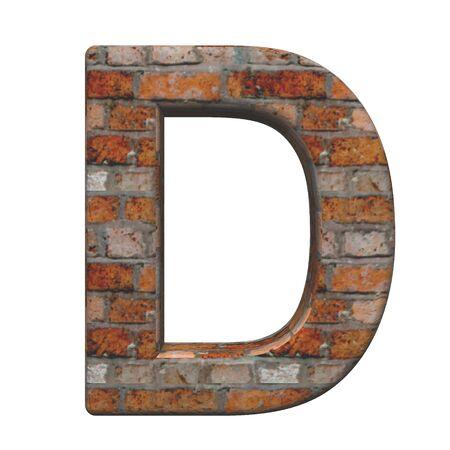 paredes de ladrillos: Una carta de ladrillo antiguo alfabeto conjunto, aislado en blanco. Generado por ordenador 3D foto renderizado.