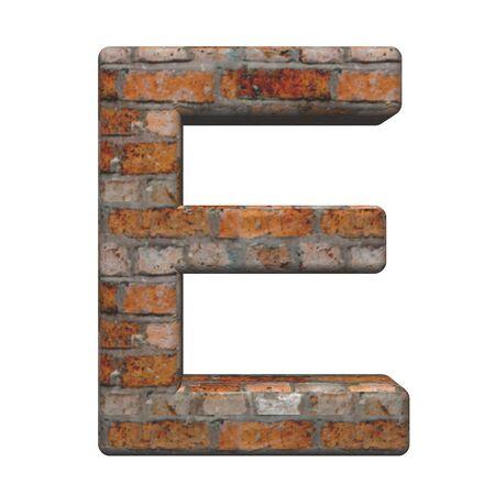 Una lettera dal vecchio mattone alfabeto set, isolata on white. Computer generato rendering 3D photo.