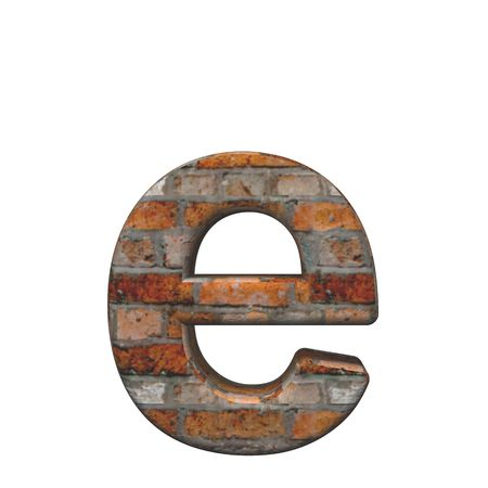 One lower case letter from old brick alphabet set, isolated on white. Computer generated 3D photo rendering. photo