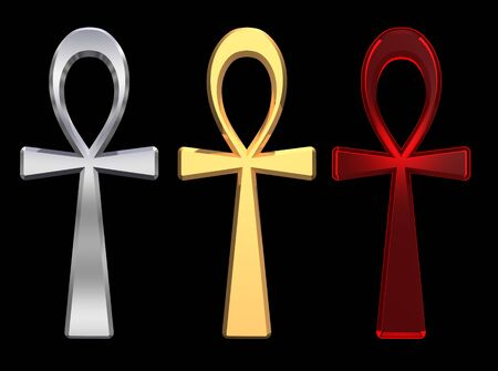 ankh: Set of ankh symbols isolated on the black. Computer generated 3D photo rendering. Stock Photo