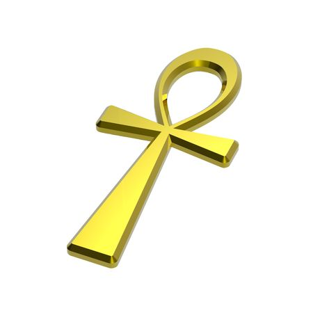 ankh: Gold ankh symbol isolated on the white. Computer generated 3D photo rendering.