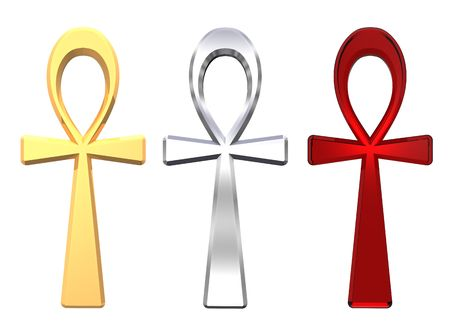 ankh: Set of ankh symbols isolated on the white. Computer generated 3D photo rendering.